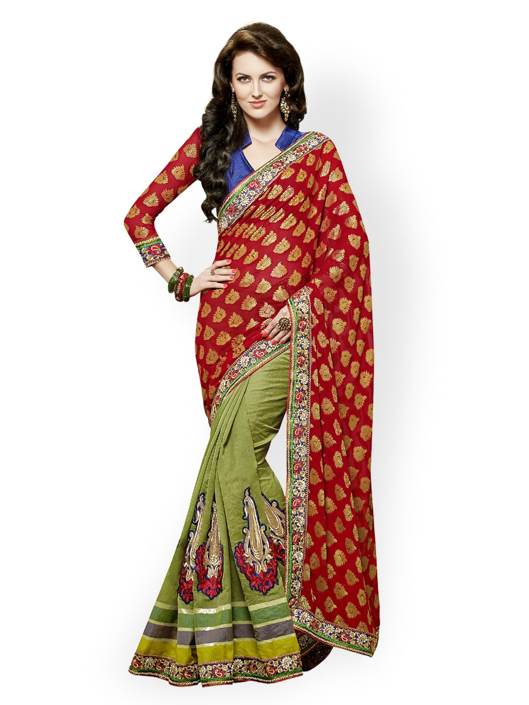 Red Dlines Red & Green Banarasi Silk Bridal Saree (Multicolor)