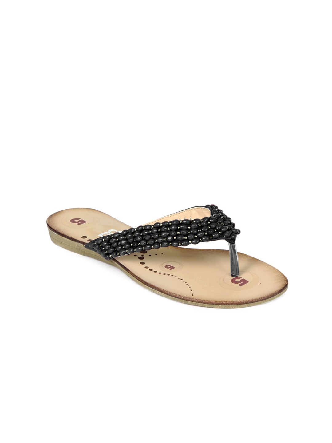 DressBerry Women Black Beaded Sandals