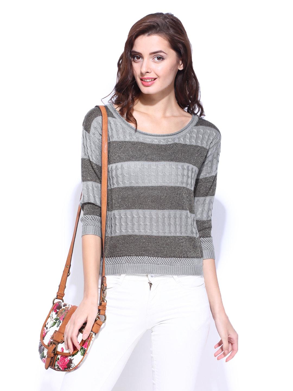 68b312df35e Buy DressBerry Women Grey Striped Sweater 8472268 for women ...