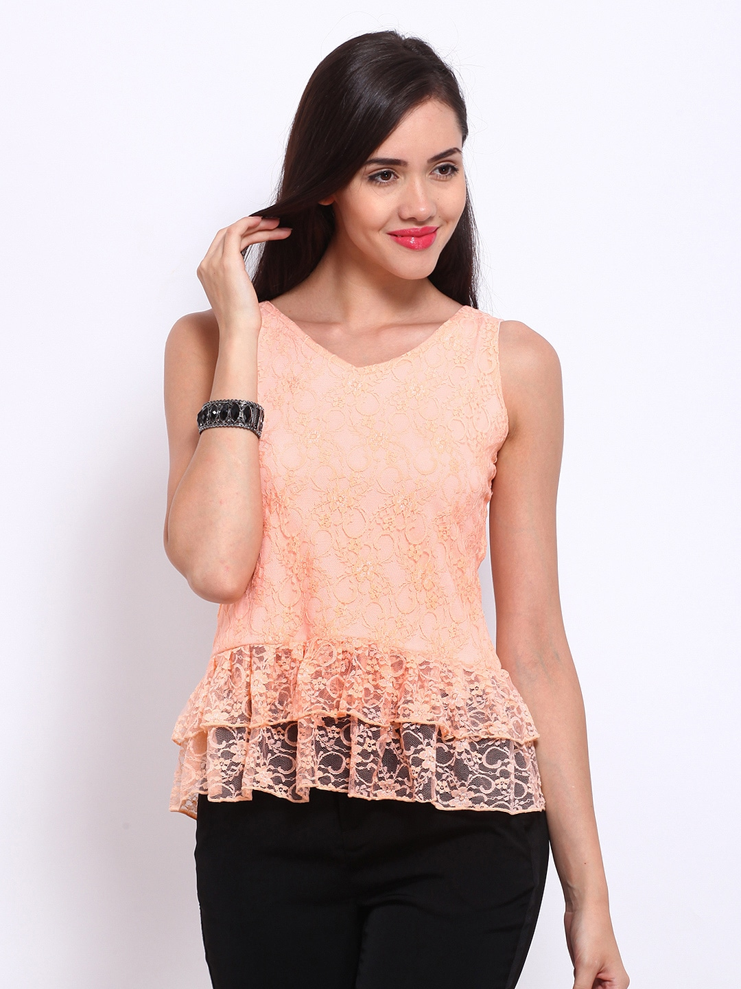 Buy Dressberry Women Peach Coloured Lace Top 310