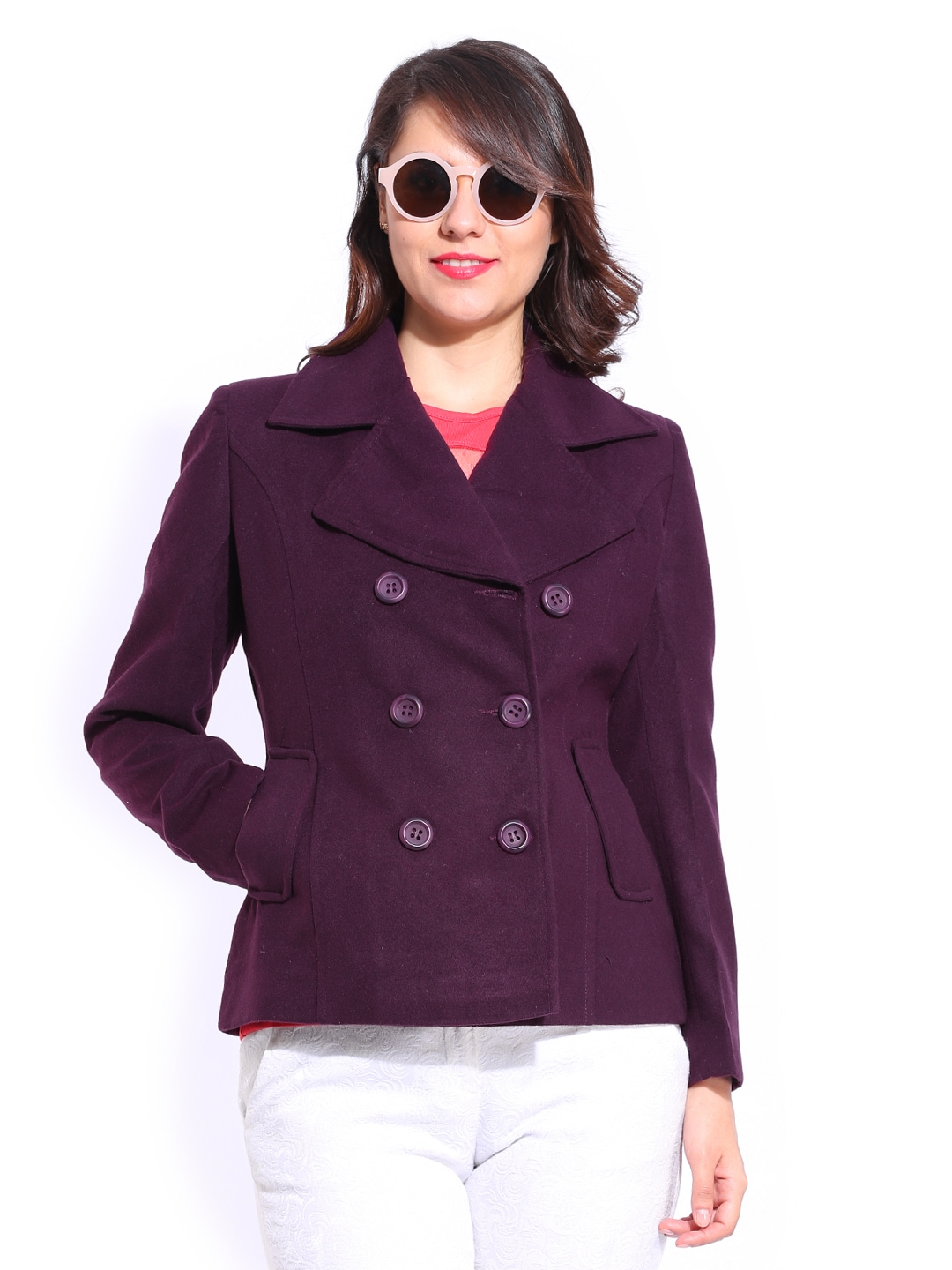Buy DressBerry Women Maroon Wool Blend Short Coat - Coats for ...