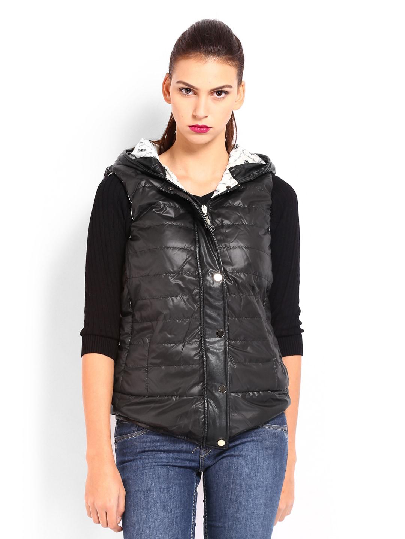 Ed Hardy Women Black Padded Hooded Jacket