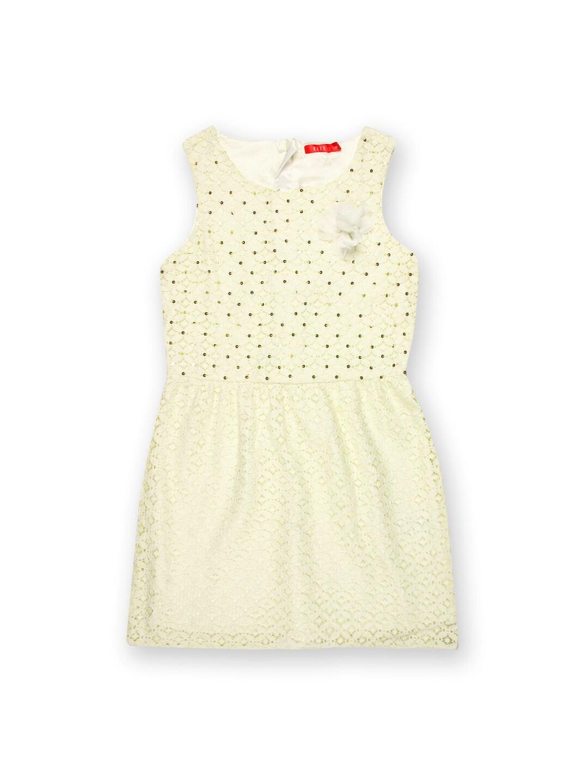 Elle Kids Girls Off-White Fit & Flare Dress