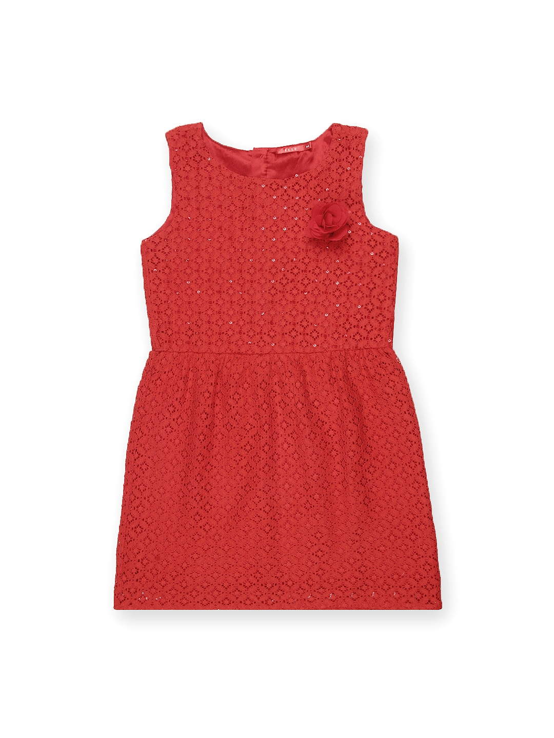 Elle Kids Girls Red Fit & Flare Dress