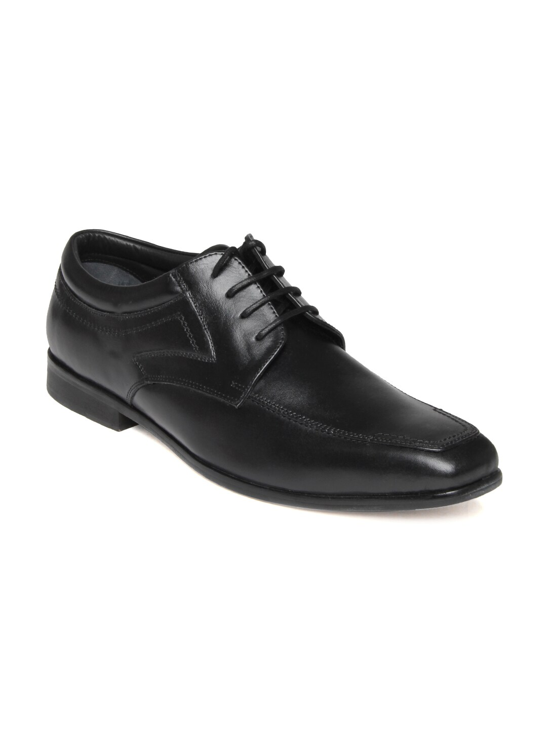 buy engross black leather semi formal shoes 633