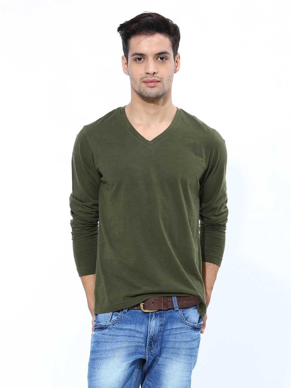 Olive green shirt mens kamos t shirt for Green mens t shirt