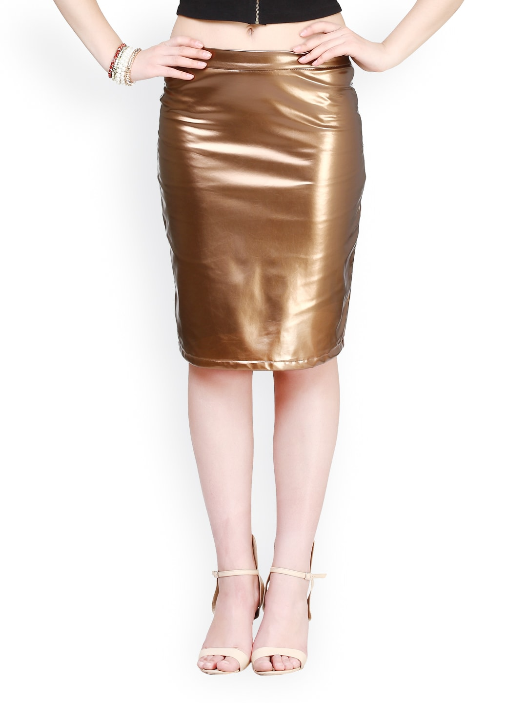 buy faballey gold toned leather pencil skirt 304