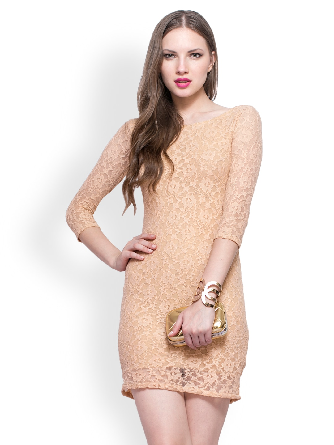 FabAlley Brown Lace Bodycon Dress