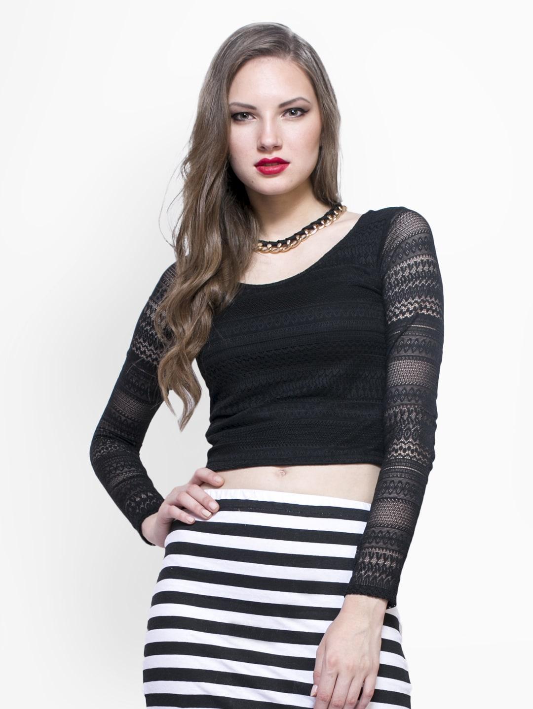 8c5d4adb3004 Buy FabAlley Women Black Crop Top 1361835 for women online in ...