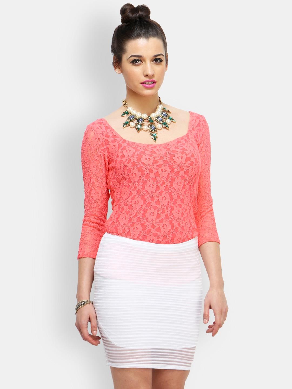 440e9ed15b1 Buy FabAlley Women Coral Orange Lace Top 1295443 for women ...