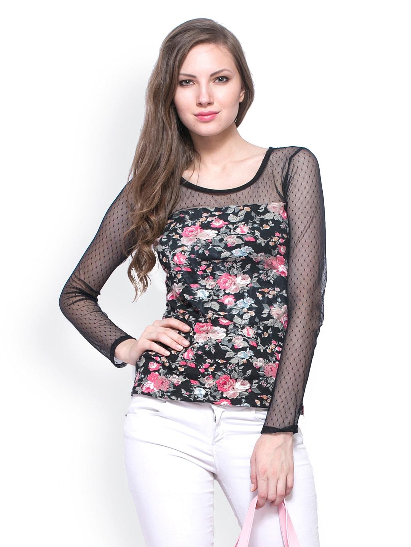 7b1311cfea Buy FabAlley Women Black Floral Printed Top (multicolor) 1318599 ...