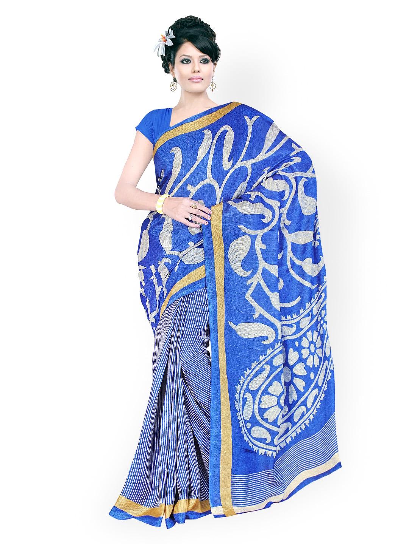 Fabdeal Blue Khadi Silk Printed Saree