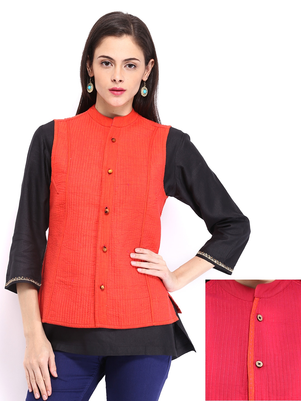 Buy Fabindia Women Pink U0026 Orange Reversible Ethnic Jacket - 292 - Apparel For Women - 474780