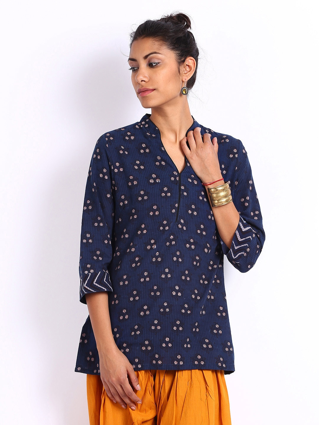 Buy Fabindia Women Navy Hand Block Printed Kurti Kurtis For Women Myntra