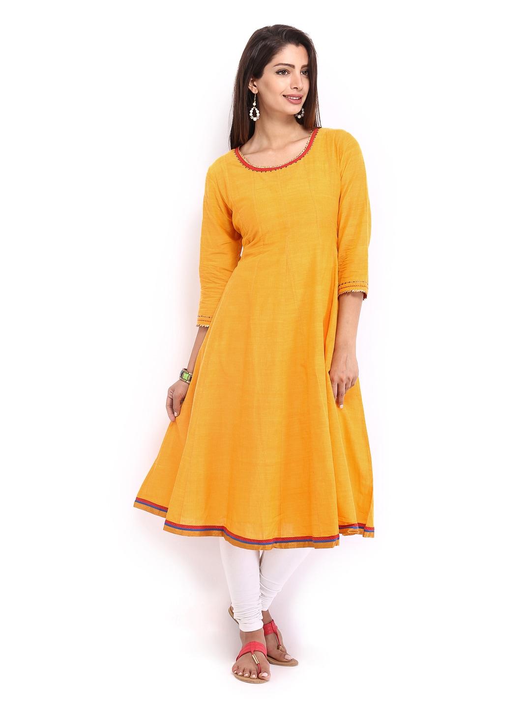 fec3694633 Buy Fabindia Women Yellow Anarkali Kurta 2913478 for online in ...
