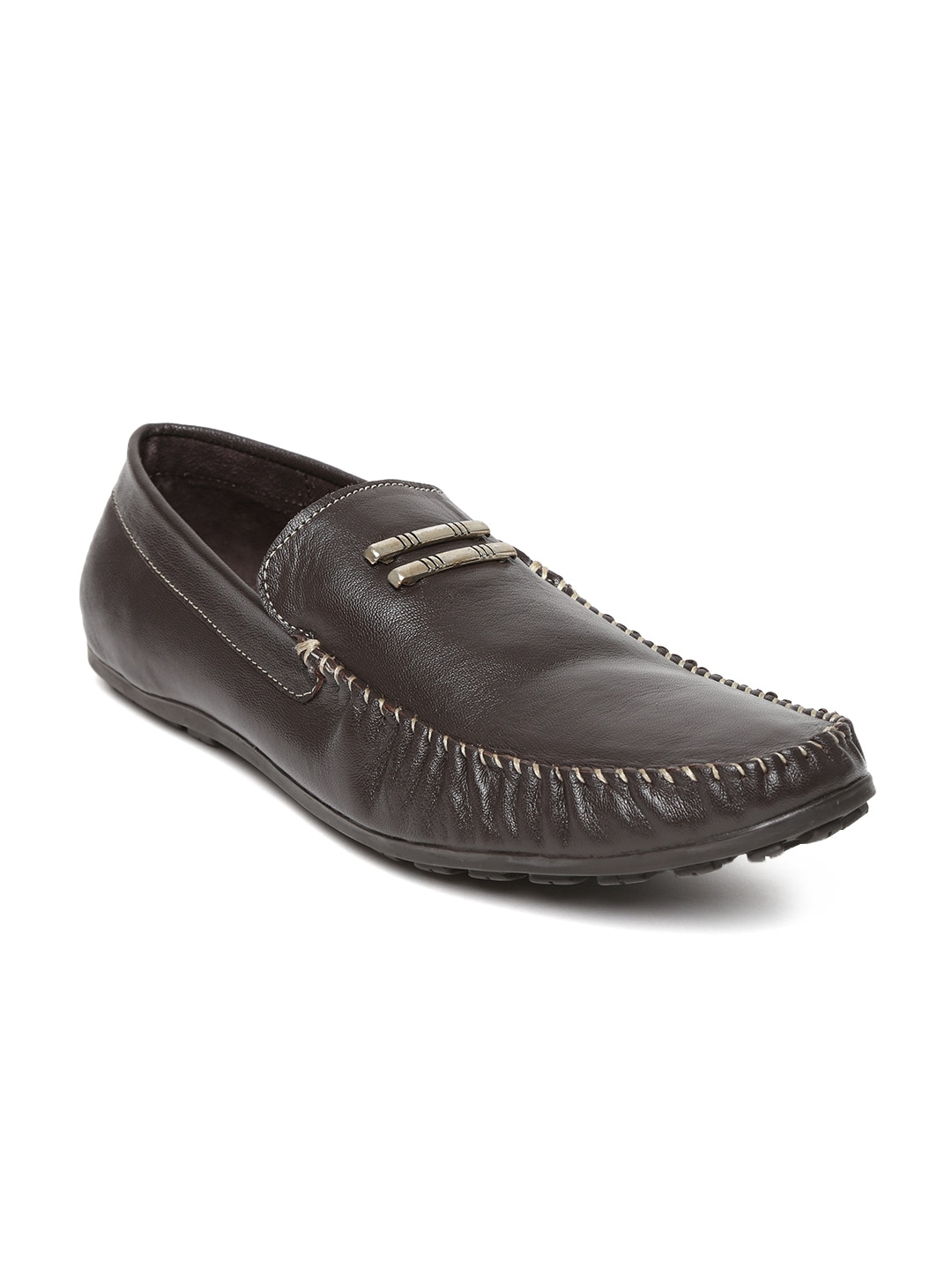 Famozi Famozi Men Coffee Brown Leather Loafers (Multicolor)