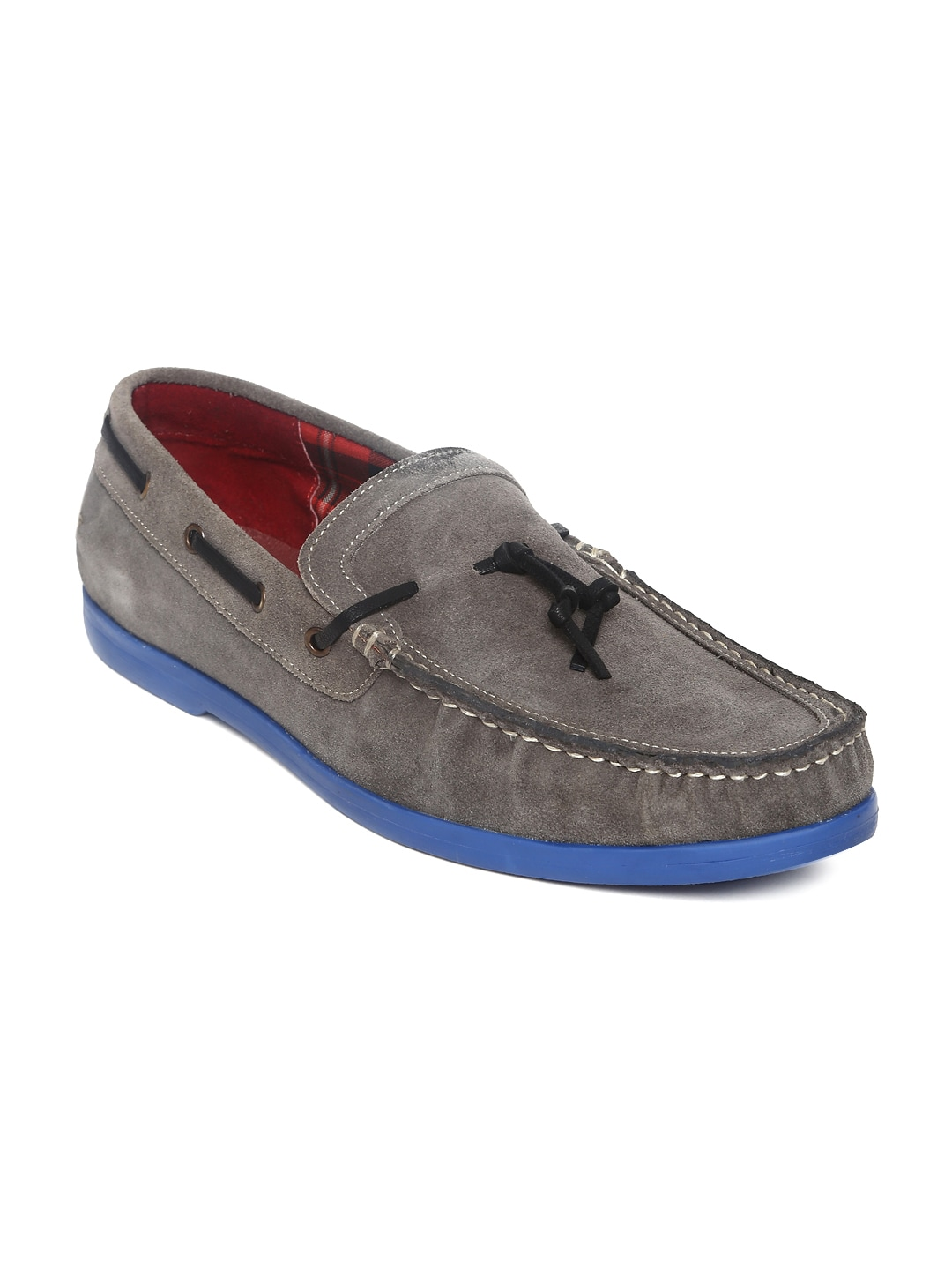 Famozi Famozi Men Grey Suede Boat Shoes