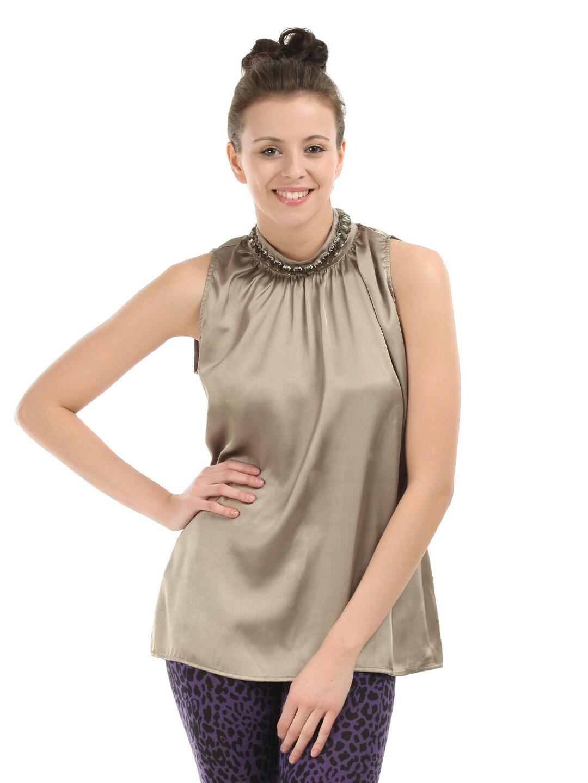 Buy Femella Front Ruffle Top For Women: Buy Femella Women Gold Top