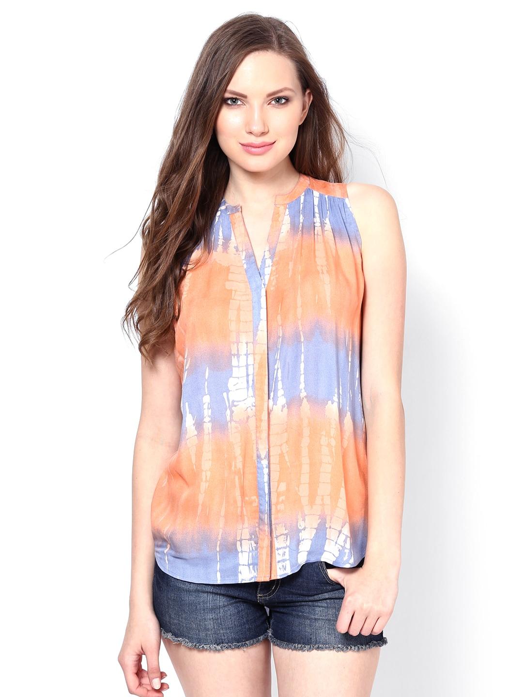 Buy Femella Front Ruffle Top For Women: Buy Femella Women Multi Coloured Ombre Dye Shirt