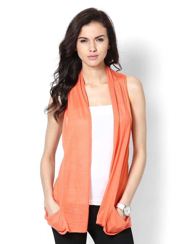 Buy Femella Front Ruffle Top For Women: Buy Femella Women Coral Orange Shrug