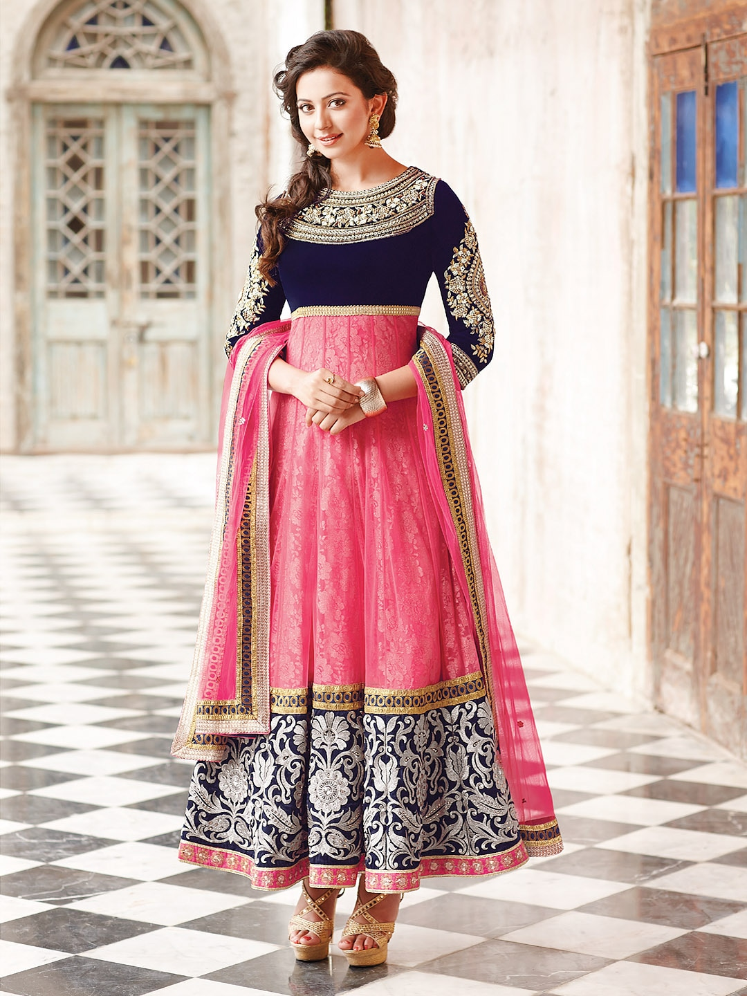 Floral creations pink navy embroidered unstitched dress material
