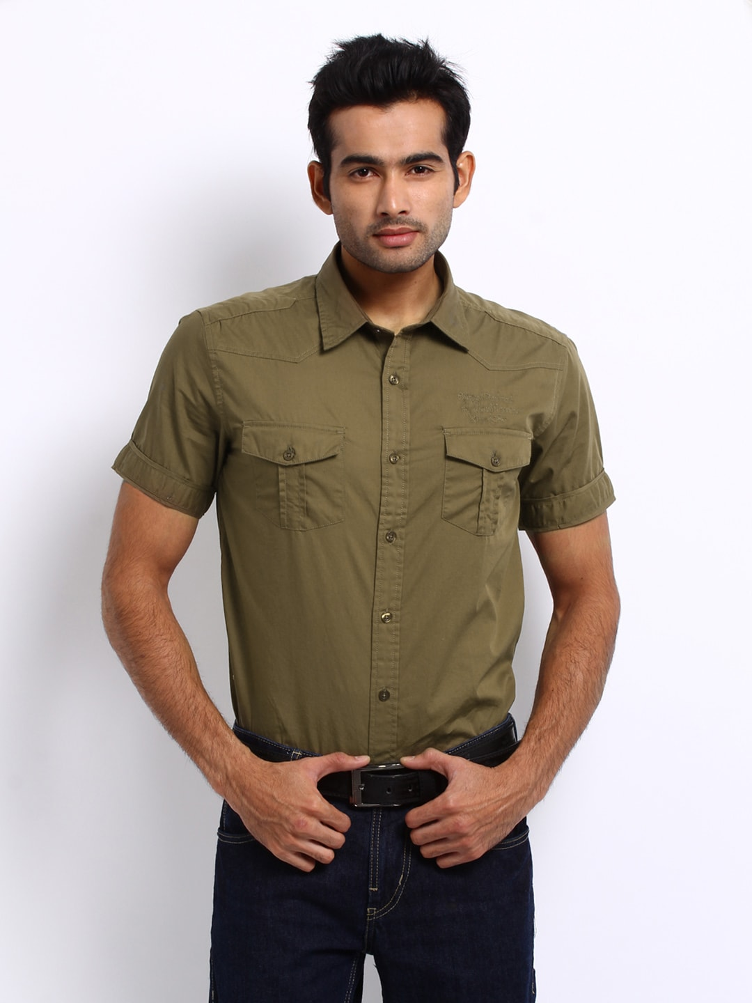 Flying Machine Men Olive Premium Fit Casual Shirt