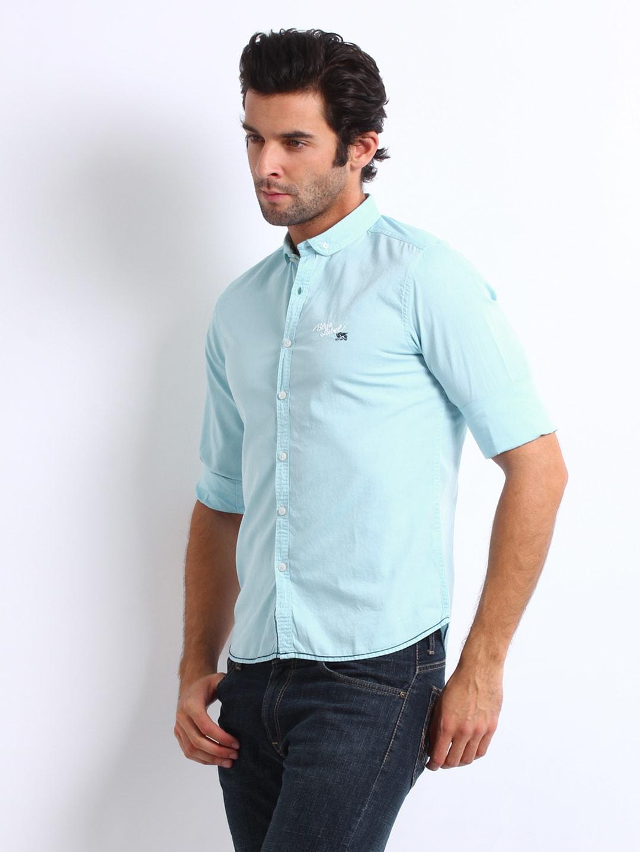 Men Sky Blue Jeans Shirts - Buy Men Sky Blue Jeans Shirts online ...