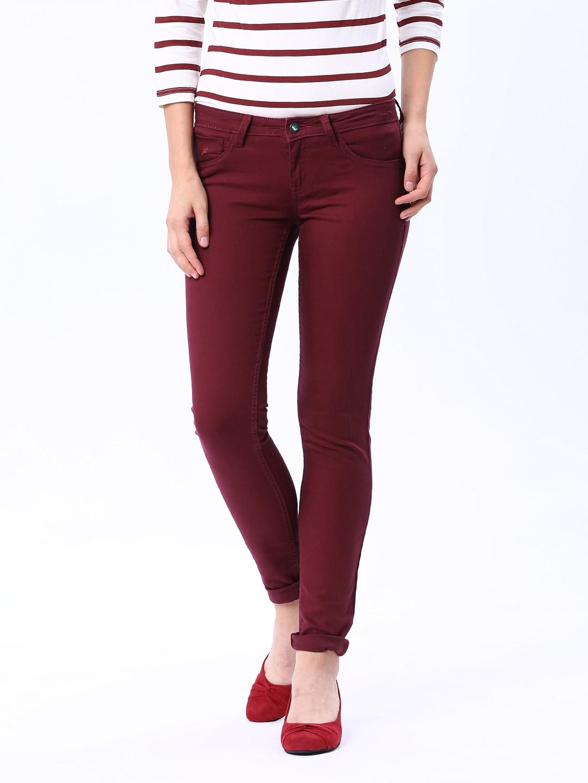 Buy Flying Machine Women Maroon Twiggy Fit Jeans 1395133 for women ...