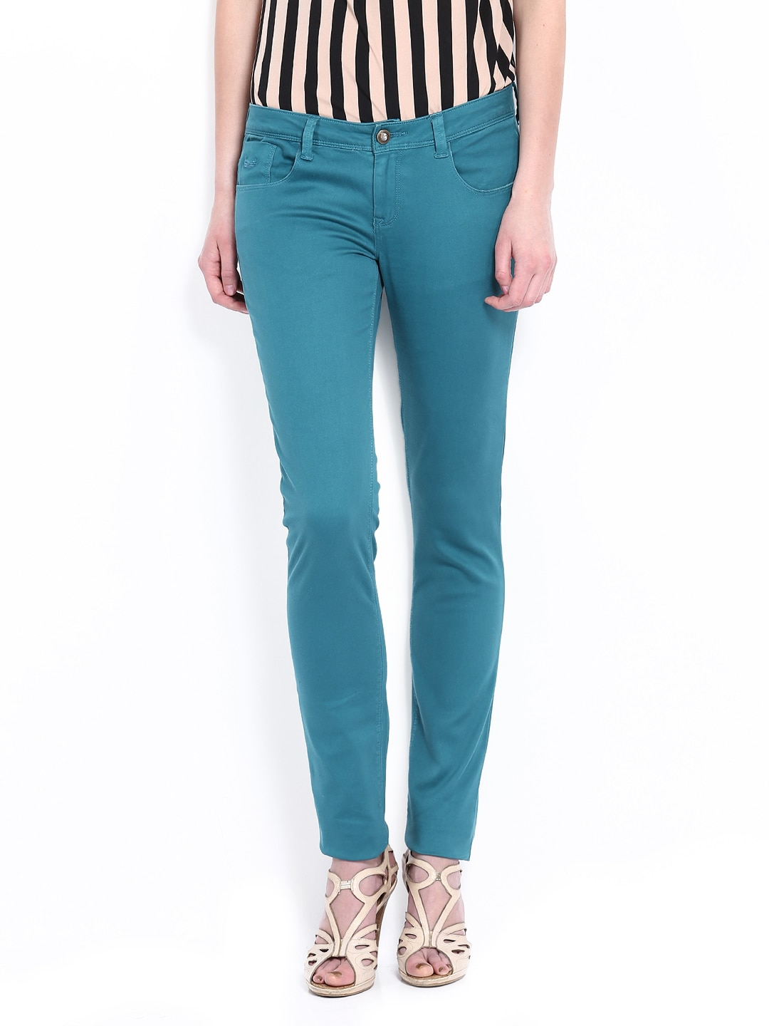 Flying Machine Women Teal Green Twiggy Super Skinny Fit Trousers