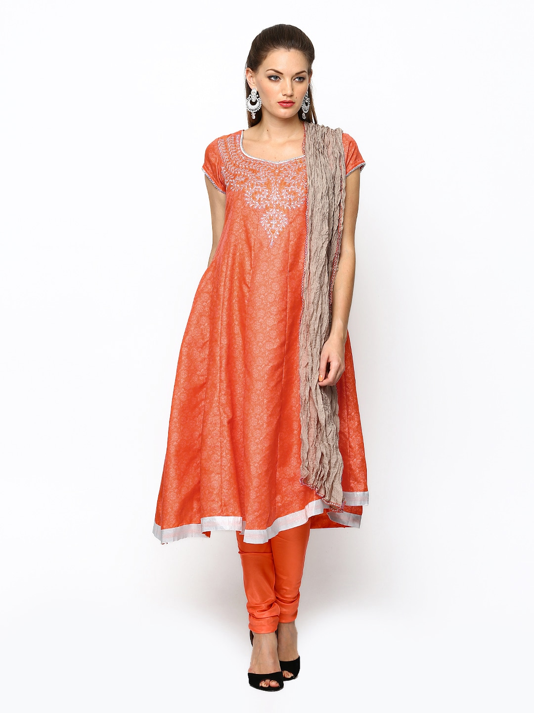 Folklore Orange Churidar Kurta with Dupatta
