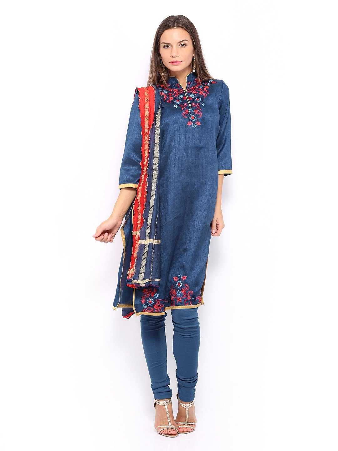 Folklore Women Blue & Red Embroidered Churidar Kurta with Dupatta (multicolor)