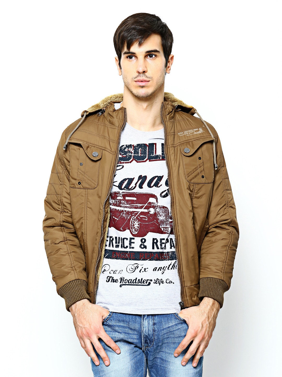 Fort Collins Men Brown Hooded Jacket