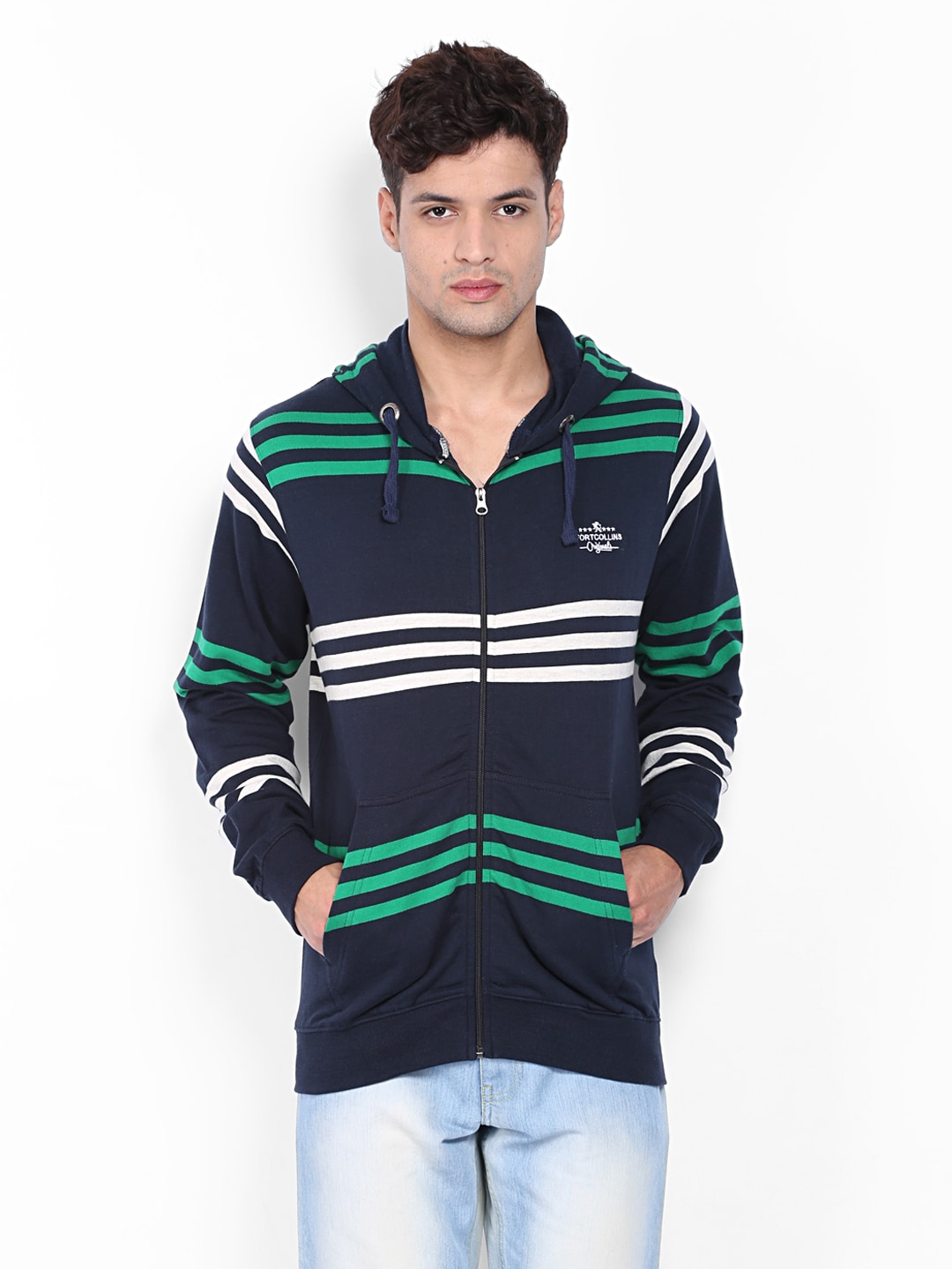 Fort Collins Men Navy & Green Striped Sweatshirt