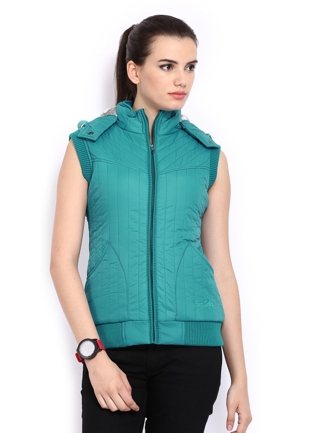 Fort Collins Women Blue Sleeveless Padded Jacket