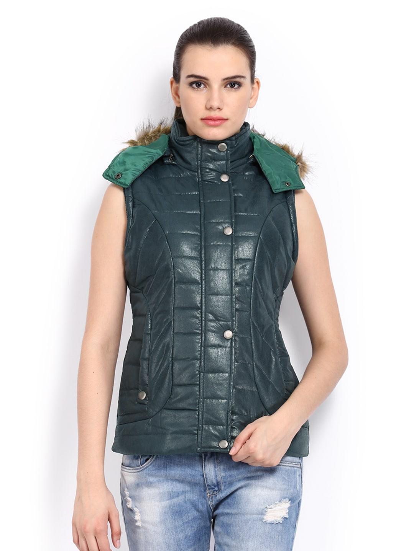 Fort Collins Women Dark Green Sleeveless Padded Jacket