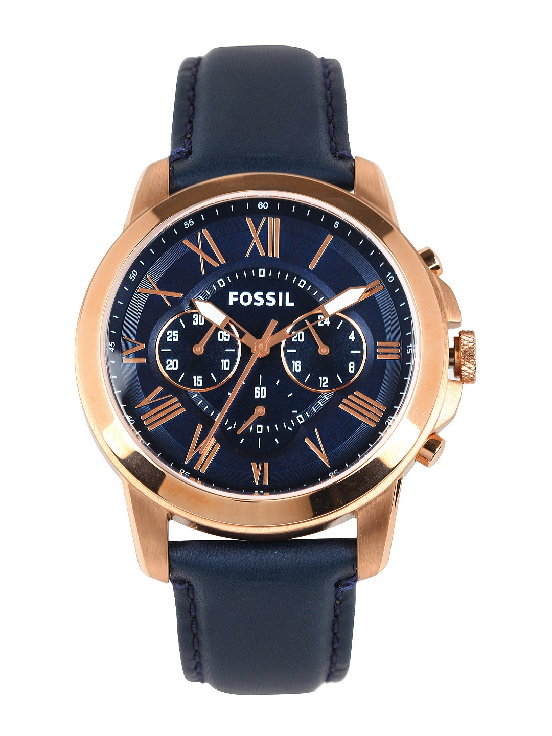 Fossil Men Navy Dial Chronograph Watch FS4835I