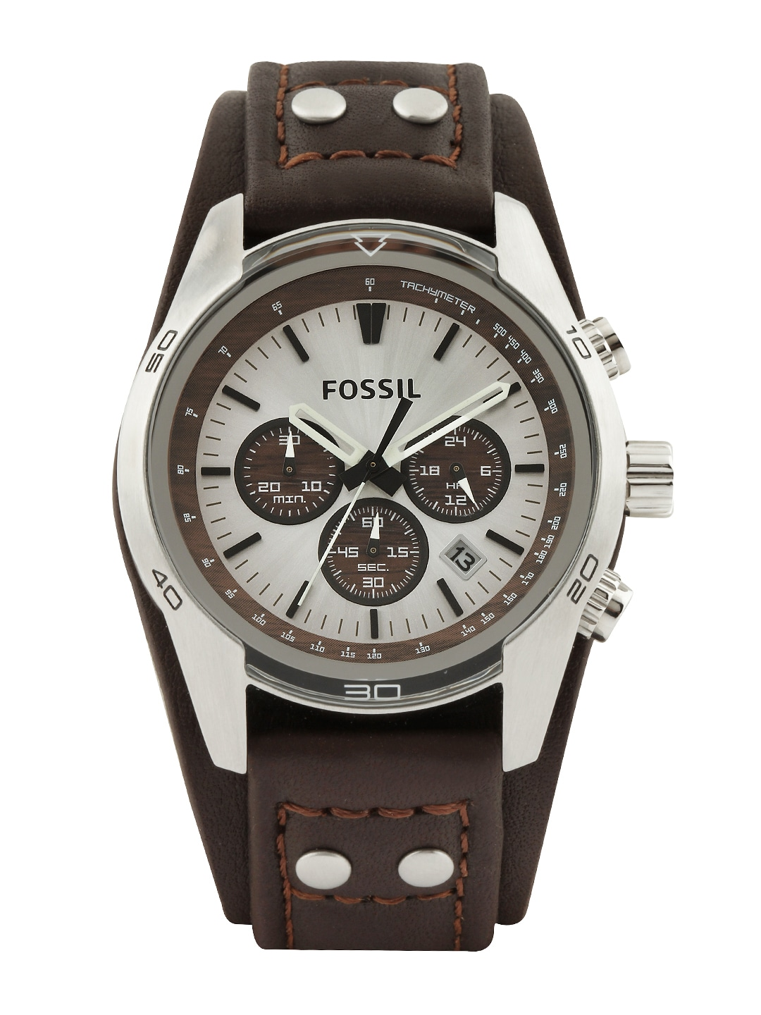 Fossil Men Silver-Toned Dial Chronograph Watch CH2565I