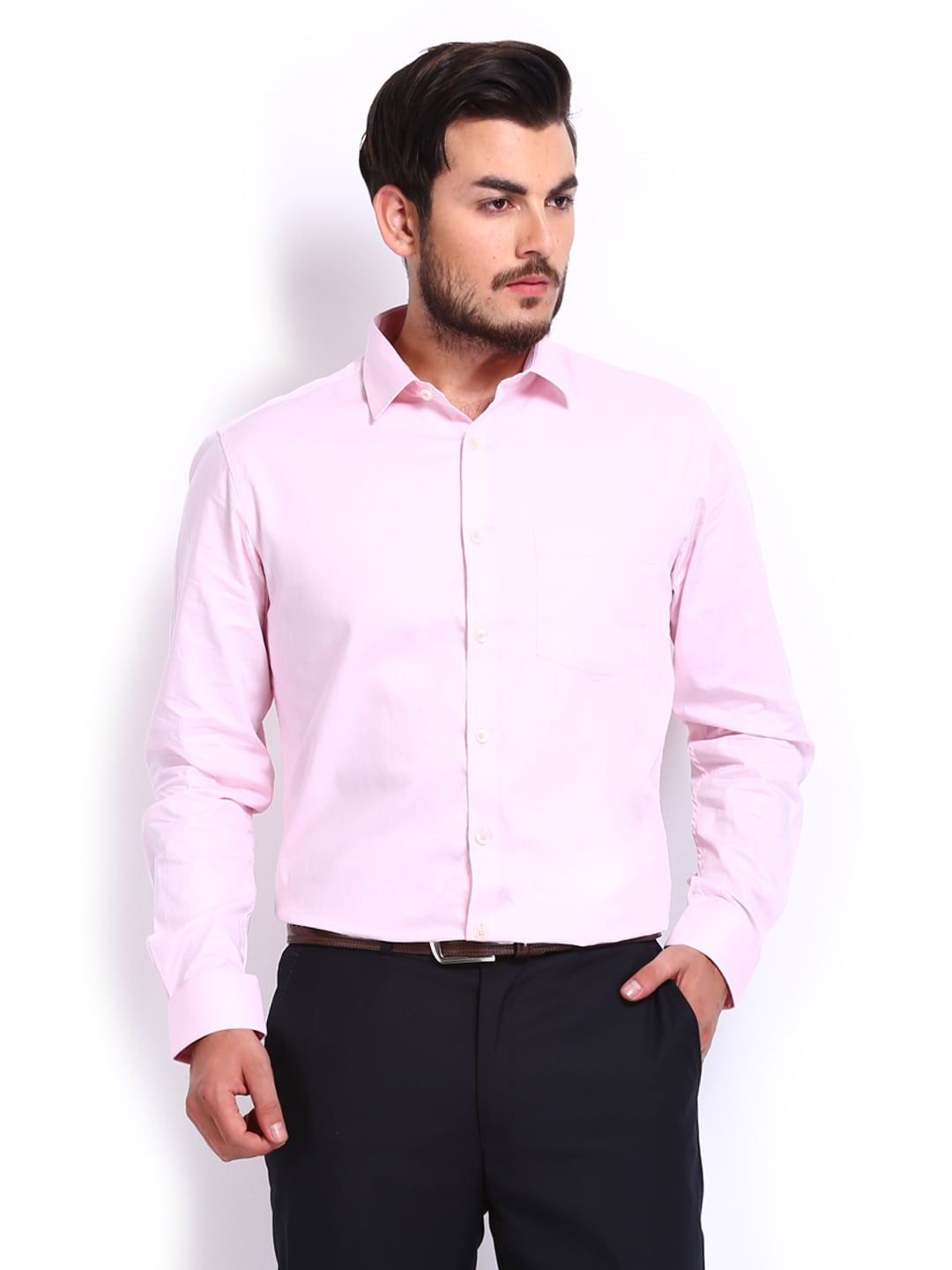Four One Oh Men Pink Slim Fit Formal Shirt (multicolor)