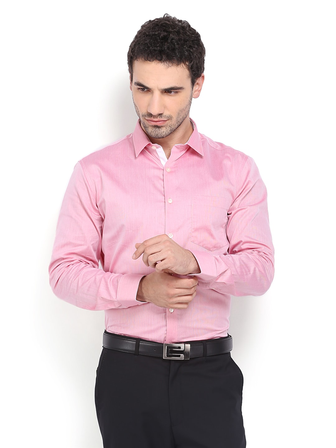 Red Four One Oh Men Red & White Striped Formal Shirt (Multicolor)