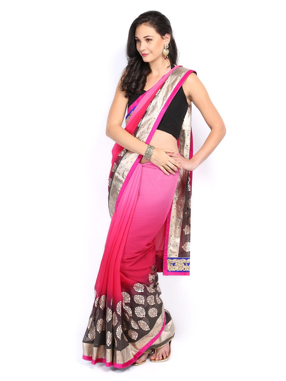 Four Seasons Pink Printed Chiffon Fashion Saree (multicolor)
