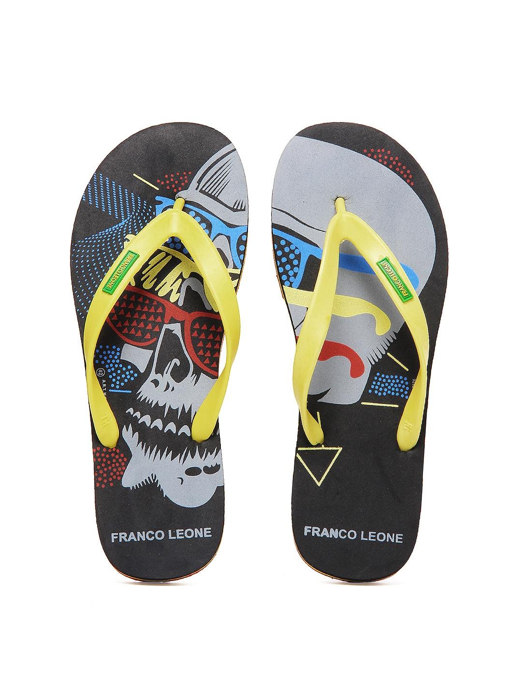 Franco Leone Men Yellow & Black Printed Flip Flops