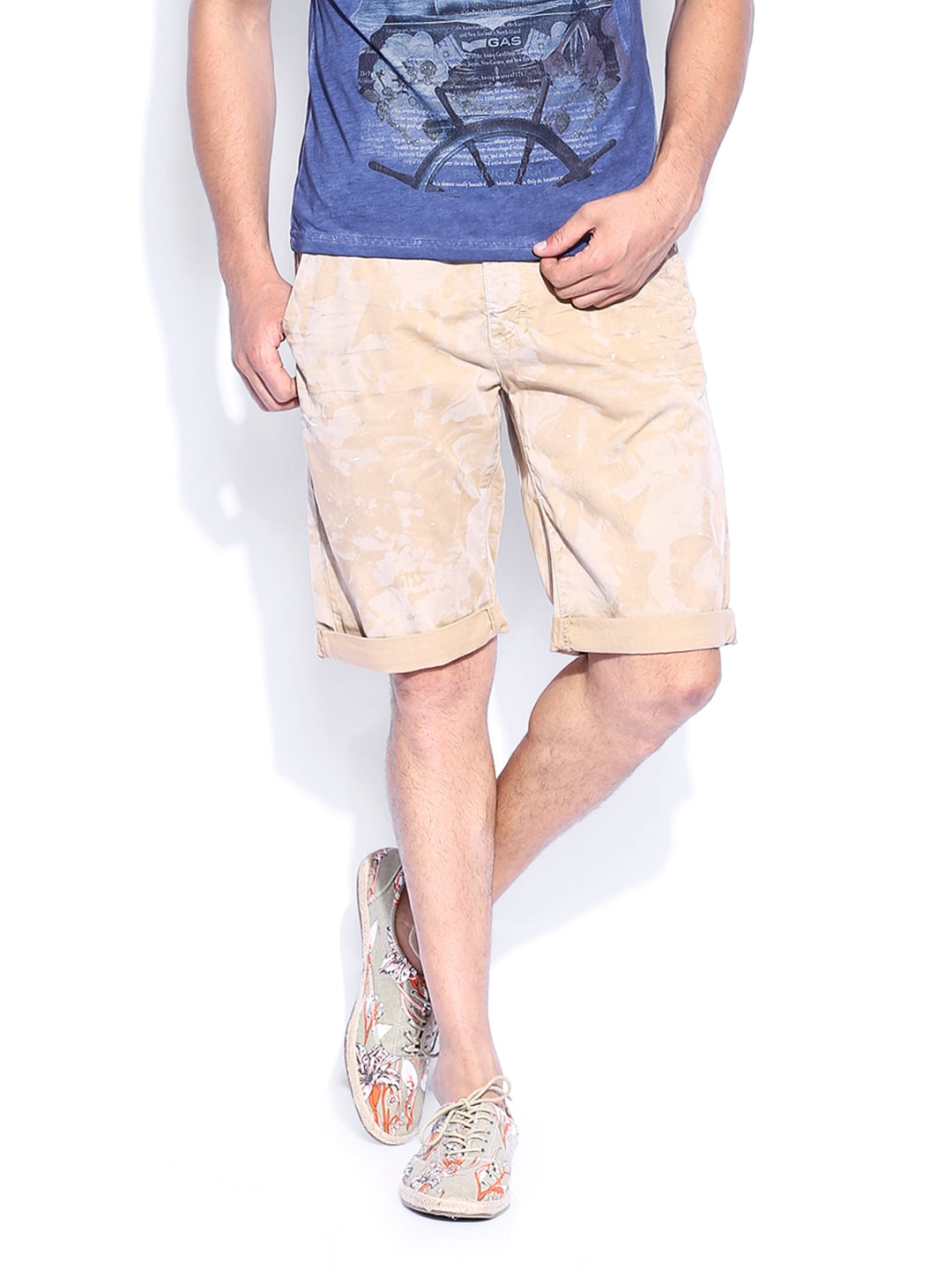 Gas GAS Men Beige Runic Shorts (Beige\/Sand\/Tan)