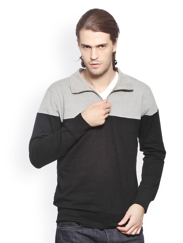 GRITSTONES Men Grey Melange & Black Sweatshirt