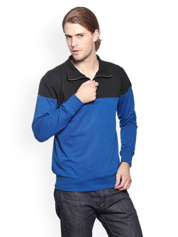 GRITSTONES Men Black & Blue Sweatshirt