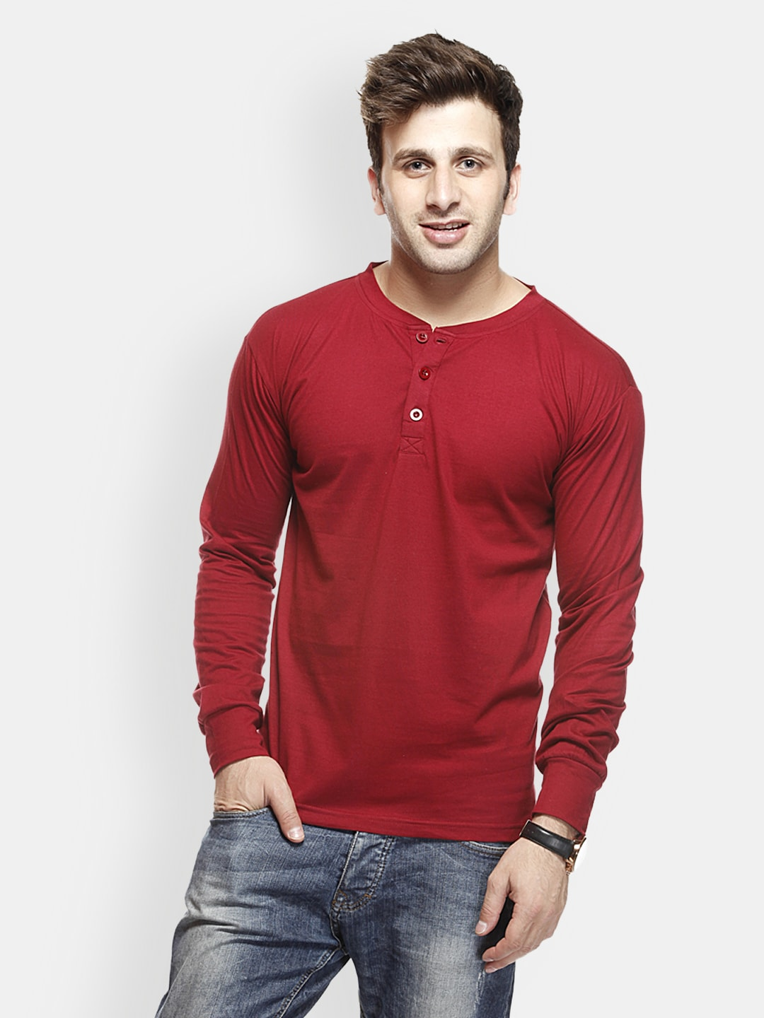 Buy Gritstones Men Maroon T Shirt 289 Apparel For Men