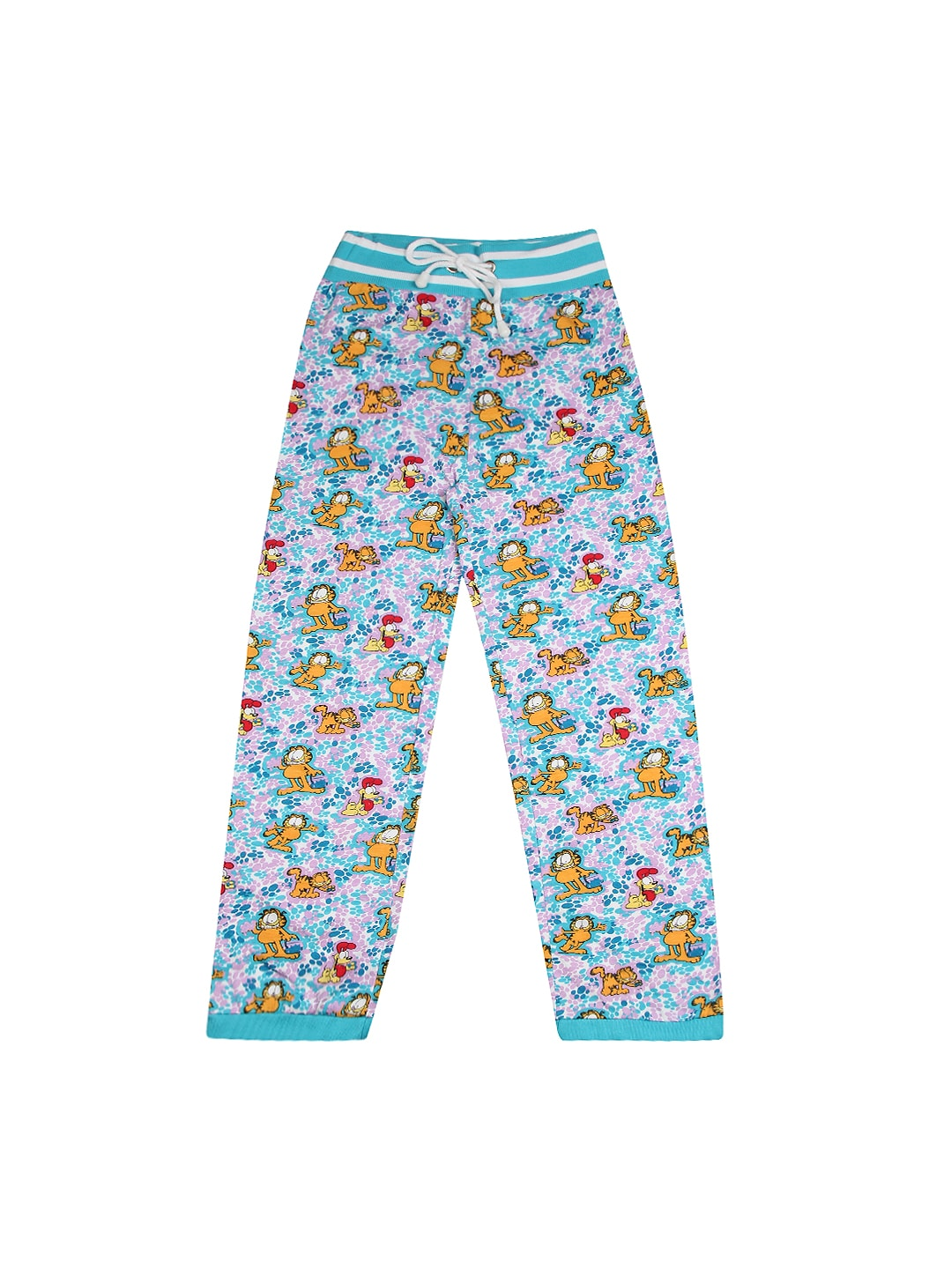 Garfield Girls Blue & Lavender Printed Track Pants