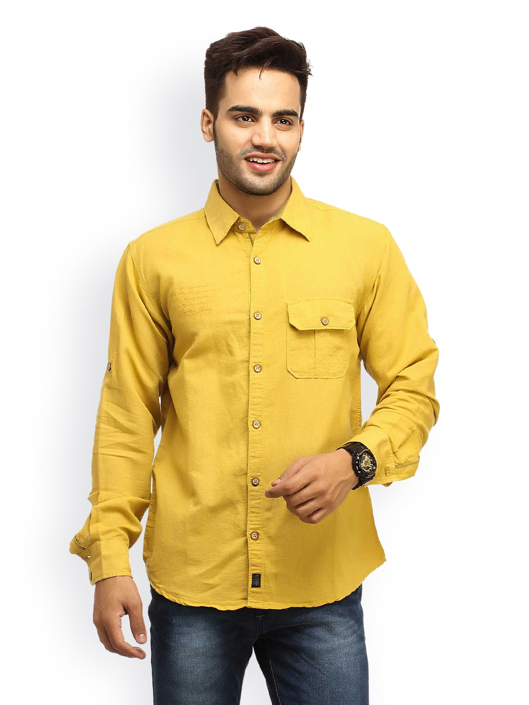 Mustard Gesture Jeans Men Mustard Yellow Casual Shirt