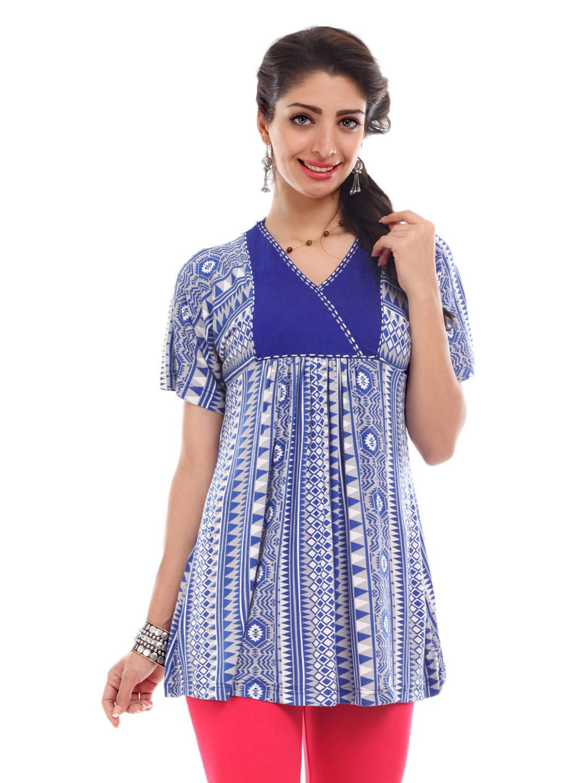 Global Desi Women Blue & Grey Tribal Print Tunic