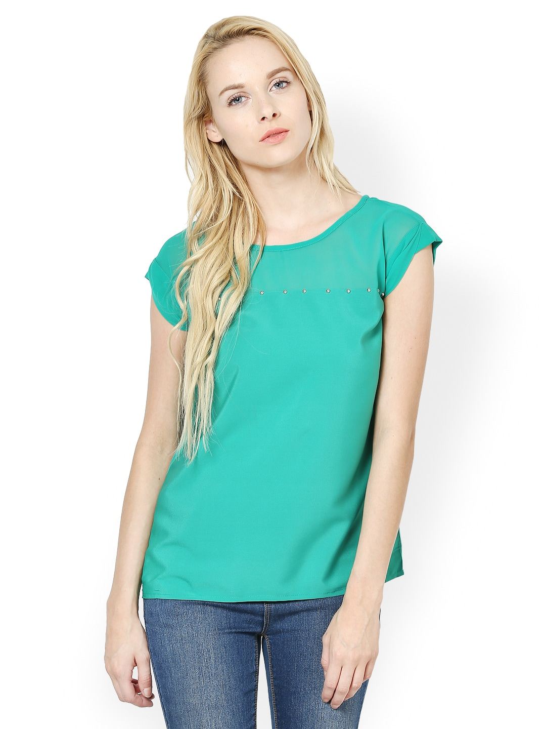 Harpa Harpa Women Turquoise Blue Top (Multicolor)