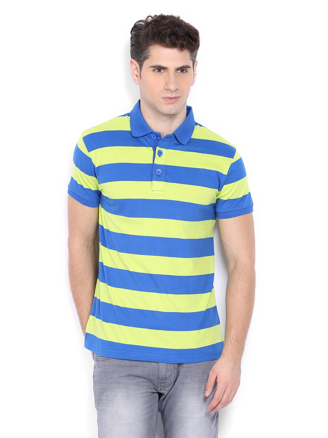 Highlander men blue and lime green striped slim fit polo t for Mens lime green polo shirt